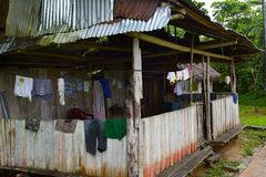 Laundry hanging on private home in Peru Royalty Free Stock Photo