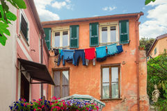 Laundry hanging on a rope Royalty Free Stock Photo
