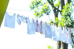 Laundry hanging on washing line Stock Photo