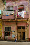 Laundry hangs outside home in historic Old Havana Royalty Free Stock Photo