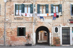 Laundry on house in Venice Royalty Free Stock Photo