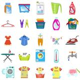 Laundry icon set, flat style vector illustration