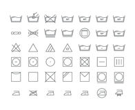 Laundry Icon Thin Line Set. Vector. Laundry Icon Thin Line Set Care Cloth Symbols Pixel Perfect Art. Material Design for Web and App. Vector illustration Royalty Free Stock Photo