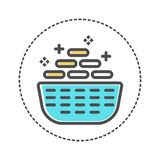 Laundry icons in flat colors style. Vector illustration stock illustration