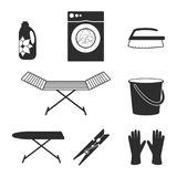 Laundry icons. Housework and laundry black icons silhouette Royalty Free Stock Photography