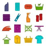 Laundry icons doodle set Stock Photography