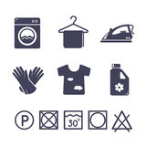 Laundry icons set Royalty Free Stock Images
