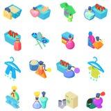 Laundry icons set, isometric style. Laundry icons set. Isometric set of 16 laundry vector icons for web isolated on white background stock illustration