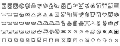 Laundry icons set, outline style. Laundry icons set. Outline set of laundry vector icons for web design isolated on white background vector illustration