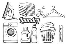 Laundry icons set. Vector illustration of a laundry icons set. Different objects: iron, towels pile, soap bubbles, hanger, washing machine, washing chemicals Royalty Free Stock Photos