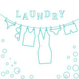 Laundry, illustration blue lines Clothes and Linen drying on a rope. Stock Photography