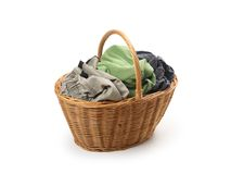 Free Laundry In Wicker Basket, Isolated On White Stock Photography - 34004972