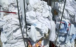 Laundry in the industrial laundry before washing Royalty Free Stock Photos