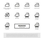 Laundry ironing symbols icon set Royalty Free Stock Images