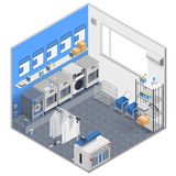 Laundry Isometric Concept. With washing machines clothes and powder vector illustration Stock Photo