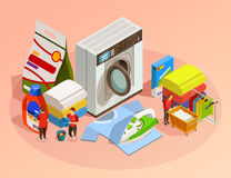 Laundry Isometric Dry Cleaning Composition Royalty Free Stock Images