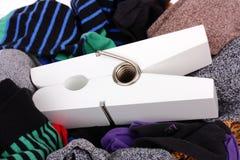 Laundry with large white peg Stock Photos