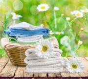 Laundry. Towel  basket basket linen clean laundromat Royalty Free Stock Image