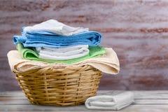 Laundry. Towel  basket basket linen clean laundromat royalty free stock images