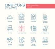 Laundry - line design icons set stock illustration