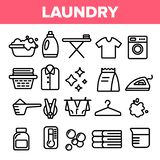 Laundry Line Icon Set Vector. Washing Machine. Clean Dry Cotton. Cloth Laundry Pictogram. Thin Outline Web Illustration vector illustration