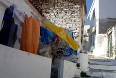 Laundry line. In multiple colors in a total white village Stock Images