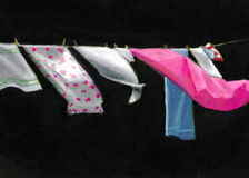 Laundry on Line in Oil Pastel Royalty Free Stock Image