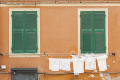 Laundry line of residential house. In Monterosso, Cinque Terre, Italy Royalty Free Stock Image
