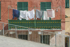 Laundry line of residential house. In Riomaggiore, Cinque Terre, Italy royalty free stock photos