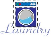 Laundry and logo industrial. Logo of laundry for industrial and business stock illustration