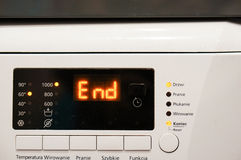 Laundry machine. End of a laundry machine programm Stock Image