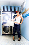 Laundry Mat Woman Royalty Free Stock Image