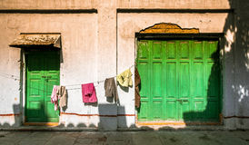 Laundry in Mumbai, India. Washing hanging outside of a house in Mumbai, India stock photography