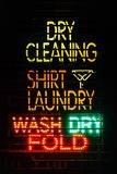 Laundry neon sign at night, in the East Village, Manhattan, New York City.  stock images