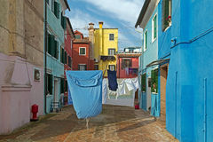 Laundry out to dry in a courtyard Stock Photography