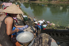 Laundry in the Perfume River, Vietnam Stock Photos