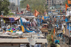Laundry piled up on roofs in the Mahalaxmi Dhobi Ghat open air laundromat Stock Image