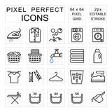 Laundry pixel perfect icon set with washing and housework concept royalty free illustration