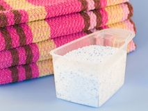 Laundry powder. Washed wipers and measure with laundry powder Stock Photo