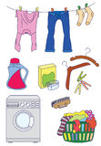 Laundry related icon set Stock Photos