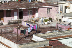 Laundry on the roof of a home in Havana Royalty Free Stock Photos