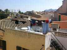 Laundry on the rooftops Stock Images