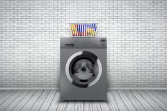 Laundry room of brick wall and washing machine. Laundry room interior with silver washing machine and basket on white brick wall background. The concept of Royalty Free Stock Images