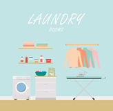 Laundry Room. Flat modern style. Stock Photos