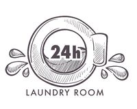 Laundry room 24 hours every day and night logotype. Isolated icon vector monochrome sketch outline of clothing cleaning service washing machine sign with water royalty free illustration