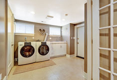 Laundry room interior in grey color Royalty Free Stock Images