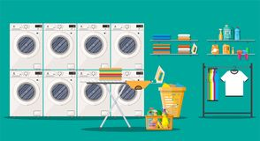 Laundry room interior with washing machine. Ironing board, iron, clothes rack, household chemistry cleaning, washing powder and basket. Vector illustration in Stock Photography