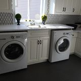 Laundry Room, Major Appliance, Washing Machine, Clothes Dryer stock photos