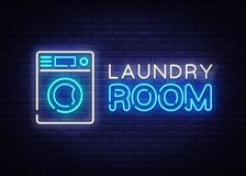 Laundry Room Neon Logo Vector. Dry Cleaning neon sign, design template, modern trend design, night neon signboard, night. Bright advertising, light banner vector illustration