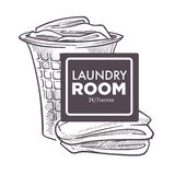Laundry room open 24 7 daily everyday public service. Vector. Monochrome sketch outline of basket filled with clothes and towels need to be washed. Domestic vector illustration